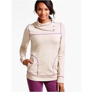 Talbots Cowl neck button sweatshirt